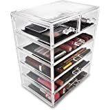 Sorbus Cosmetics Makeup and Jewelry Big Storage Case Display - Stylish Vanity, Bathroom Case (4 Large, 2 Small Drawers, Clear