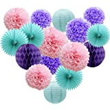 Teal Lavender Purple Pink Party Decorations 16pcs Paper Pom Poms Honeycomb Balls Blue Lanterns Tissue Fans for Wedding Birthd