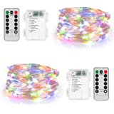 Koxly 2 Pack 20ft 60 Led Fairy Lights with Remote Timer Waterproof Christmas Decor Battery Operated Twinkle Firefly Lights fo