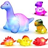 MAPIXO 6 Packs Light-Up Floating Dinosaur Bath Toys Set, for Baby Toddler Nephew in Birthday Christmas Easter , Great Water B