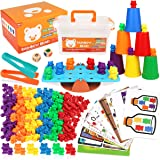 Boogem Rainbow Counting Bears Toys for Kids, 115Pcs Counting Teddy Bears Gift Set with Color Matching Sorting Cups, Education