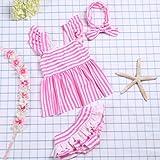 HYSENM 水着 ガールズ かわいい 子供 女の子 ストライプ ワンピース パンツあり ヘアバンド付き ビーチ 海遊び 夏 3-4歳から9-10歳まで