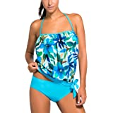 FEOYA Halter Floral Tankini Swimsuits Two Pieces Swimwear with Triangle Brief