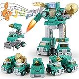SUMXTECH 5-in-1ロボット車セット組み立ておもちゃDIY組み立て車 車おもちゃ 分解おもちゃ 子供用 音と軽いロボット模型 組立セット ボルトを締め付け 走行可能 安全な塗料を採用 ロボットおもちゃ 変形ロボット 立体パズル 男の子玩具