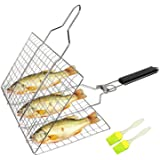 SHAN PU Grill Basket BBQ Grilling Basket with Removable Handle for Fish,Vegetables,Steak, Shrimp, Meat,Food Stainless Steel G