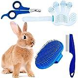 4 Pieces Rabbit Grooming Kit with Rabbit Grooming Brush, Pet Hair Remover, Pet Nail Clipper, Pet Comb, Pet Shampoo Bath Brush