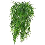 2PCS Green Artificial Plant Vines Wall Hanging Fake Leaves Plant Simulation Orchid Fake Flower Rattan for Home Garden Decorat