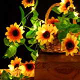 Artificial Sunflower String Lights Sunflower Home Decor Sunflower Battery Operated String Fairy Lights for Indoor Bedroom Wed