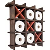 Comfify Rustic Tic-Tac-Toe Toilet Paper Holder for Bathroom – Playful Storage Shelves for Toilet Tissue in Torched Brown Colo