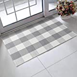 "LEEVAN Cotton Buffalo Plaid Rugs 24"" x 35"" Checkered Gingham Rug Washable Woven Outdoor Porch Welcome Braided Door Mat for La"