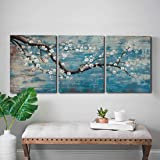 Ejart 3 Piece Wall Art Hand-Painted Framed Flower Oil Painting On Canvas Gallery Wrapped Modern Floral Artwork for Living Roo