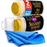Premium Shammy Towel for Car - 2 Pack - Mini Shammy Cloth (17 x 13 inches) - (Two Tubes + One Extra Chamois Towel)