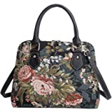 Signare Women's Navy & Pink Tapestry Top Handle Handbag with Detachable Strap to Convert to Shoulder Bag with Peony Flower in