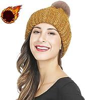 ニット帽 メンズ 大きいサイズ 秋 冬、ニット ハット リムーバブル ポンポン付き 、厚手 防寒 耳つき スキー 帽子、8色