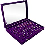100 Slots Ring Storage Display Box with Transparent Lid ~ Jewelry Tray Organizer ~ Earring Holder Showcase (Purple)
