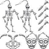 5 Pairs Halloween Skull Skeleton Earrings Screw Studs Man Woman Punk Style