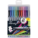 BIC Intensity Fineliner Medium Fine Point Pens, 0.4-1.0mm – Set of 24 Markers, Reusable Pack – Fashion Colours, No Bleed for