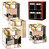 Le Sens Amazing Home Classic Cube Crystal Candle Holder Set of 4 - Solid Square Clear Glass Table Centerpiece - Elegant Votiv