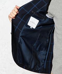 Polyester Cotton Windowpane Hopsack Blazer 3222-186-0251: Navy