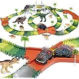 Dinosaur Track Toy Set 305 Piece, Dinosaur Car Race Track Toy with 264 Flexible Tracks, 2 LED Light Up Dinosaur Cars, Create