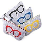 Soleebee 4 Pack Portable Eyeglasses Bag Case Soft Felt Zipper Glasses Purse Bag Makeup Storage Pouch