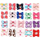 Sufermee 40 pcs (20 pairs) Baby Girls Ribbon Hair Bow Clips printed pattern Hairpins Non-slip Hair Barrettes Hair Accessories