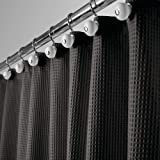 mDesign Hotel Quality Polyester/Cotton Blend Fabric Shower Curtain Waffle Weave Rustproof Metal Grommets Bathroom Showers Bat