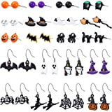 20 Pairs Halloween Stud Earring Drop Dangle Earrings Set Pumpkin Ghost Spider Stud Earrings Witch Spiderweb Bat Pendant Earri