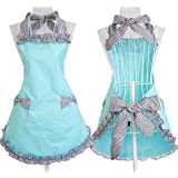 Aprons for Women Cooking Retro Vintage Kitchen Aprons Plus Size with Extra Ties (Black)