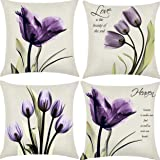 Hibedding Tulip Purple Flower LinenThrow Pillow Cover Sofa Couch Art Painting for Living Room Decor Cushion Cover and Modern