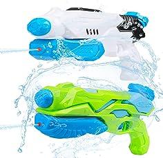 水てっぽう ウォーターガン おもちゃ 水遊び 水鉄砲 超強力飛距離 2本セット BATTOP 10~11m 子ども 夏の定番おもちゃ 265ml ポンプアクション水鉄砲 お風呂 おもちゃ プール ビーチ