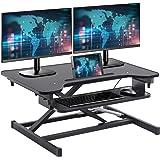 FDW Adjustable Height 32 Inches Steel Coverter Stand Up Desk Home Office Computer Desk Workstation,Black