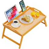 Bed Table Tray for Eating and Laptop, 21.4x14 Inch Large Bamboo Tray with Folding Legs, Phone Tablet Slot Holder & Removable