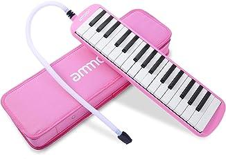 ammoon 鍵盤ハーモニカ 32鍵 ピアノスタイル マウスピースクリーニングクロスキャリーケース付き 初心者のための音楽のギフト (ピンク) Melodica Pianica