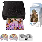 HP Sprocket Photo Printer (2nd Edition) Instantly Print Social Media Photos on 2x3 Sticky-Backed Paper (Black) + Photo Paper