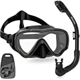 WACOOL Snorkeling Snorkel Package Set for Kids Youth Junior, Anti-Fog Coated Glass Diving Mask, Snorkel with Silicon Mouth Pi