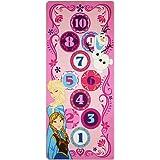 Disney Frozen Hopscotch Toys Rug Anna Olaf Elsa Bedding Play Mat Game Rugs w/ 2 Snow Flakes Toy 26x58
