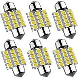 6Pcs Super Bright 31mm Festoon Led Bulb, 12-EX Chipsets 3175 LED, De3021 De3175 Fit for Interior Map Door Dome lights