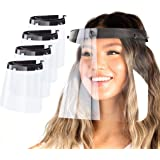 Made in USA | (4 Pack) Clear Plastic Face Shield Mask for Safety Anti Fog Protection, Reusable Washable Face Masks - Transpar