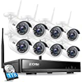 ZOSI 1080P 8 Channel Wireless Home Security Camera System Outdoor,H.265+ 2MP Surveillance NVR Recorder with Hard Drive 1TB an
