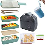 Koccido Bento Box Lunch Box Kit,Japanese Lunch Box 3-In-1 Compartment,Stackable Lunch Box Leakproof Lunch Container,Wheat Str