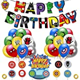 Superhero Party Supplies Kit,Captain spider man Birthday Banner suit, Spider-Man Latex Balloons, Superhero Theme Party Decora