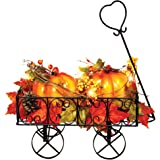 Collections Etc Lighted Metal Pumpkin Wagon with Leaves and Berries, Fall Outdoor and Indoor Décor, Yard, Garden, Porch for T
