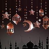 Shining Rose Gold Star Moon Lantern Ramadan Garland Kit EID Decoration for Home Ramadan Mubarak Party Decor Hanging Streamer