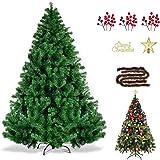 SINCHER クリスマスツリー 180cm 1250本 豪華なオーナメントセット付き 赤い実 クリスマス オーナメント 組立簡単 収納便利 クリスマス飾り 鉄の底 繰り返す利用 christmas tree プレゼント おしゃれ 豪華 装飾 クリス
