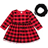 Toddler Baby Kids Girl Christmas Plaids Checked Lace Long Sleeve Party Princess Tutu Dresses Scarf Clothes Set