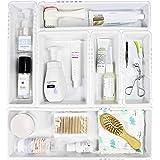 Mebbay 6 Pack Expandable Drawer Organizer, White Plastics Makeup Drawer Organizer, Drawer Dividers, Organizer Bins, Organizer