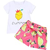 bilison Toddler Baby Girl Summer Clothes Lemon Watermelon Strawberry T Shirt Top Strawberry Shorts Outfit Sets