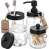 Mason Jar Bathroom Accessories Set 4 Pcs - Mason Jar Soap Dispenser & 2 Apothecary Jars & Toothbrush Holder - Rustic Farmhous