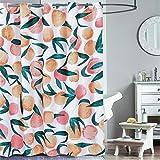 Peach Shower Curtain,No Hooks Needed,Cute Fruit Pattern,Waterproof Fabric,for Bathroom Hotel,72in x 72in